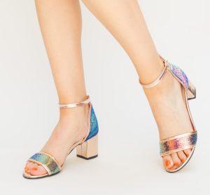 Sandale eleganta aurii din paiete multicolore si toc mic gros