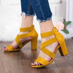 Sandale dama elegante de vara galbene cu toc mic gros foarte comode