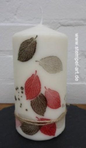 Kerzen bestempeln nach StempelART, French Foliage, (3)
