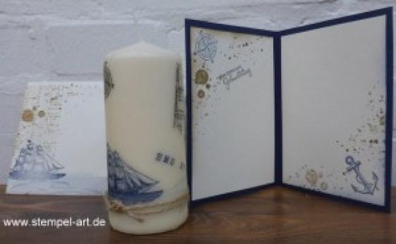 Maritime Geburtstagskarte mit Kerze nach StempelART, The Open Sea (4)