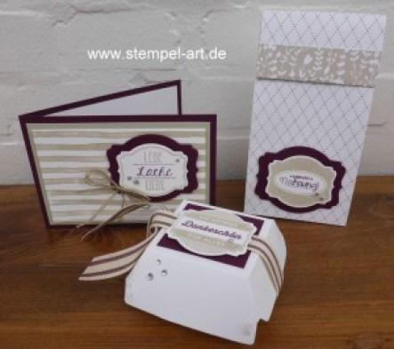 Stampin up Ach, du meine Grüße! Hamburger Schachtel nach StempelART, Geschenktüte aus Designerpapier, Brushstrokes