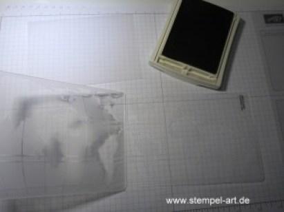 Stampin up Weltkarte nach StempelART, Aus der Kreativkiste, Pergamentpapier prägen und färben, Willkommen im Team, bebilderte Anleitung, Tutorial