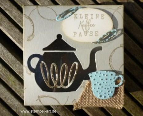 Stampin up Kleine Kaffee - oder Teepause nach StempelART, Vollkommene Momente, Teestunde, Leise rieselt, Timeless Textures, Drehstempel Alphabet, Partyballons