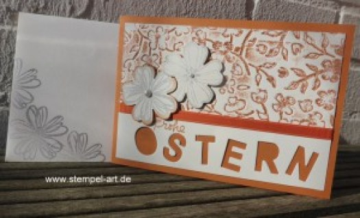 Stampin up Osterkarten nach StempelART, Flower Shop, Beeindruckende Buchstaben, Ostern, Prägeform Frühlingsblumen