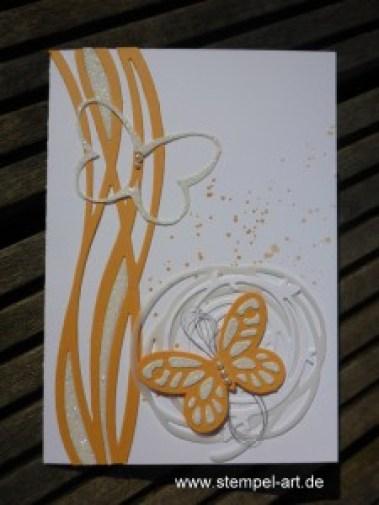 In Color Farben 2016 - 2018 Pfirsich pur nach StempelART, Stampin up, Wundervoll verwickelt, Schmetterling, Schmetterlinge, Gorgeous Grunge, Paarweiese, Stanzteil Negativ Technik