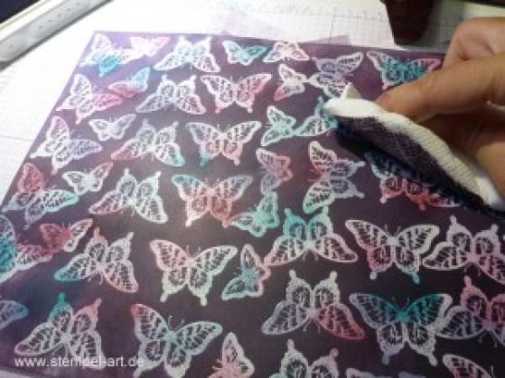 Technik Blog Hop nach StempelART, Josephs Coat Technique, Stampin up, Papillon Potpourri, Stanze Eleganter Schmetterling, Stanze Minischmetterling, Tutorial, bebilderte Anleitung