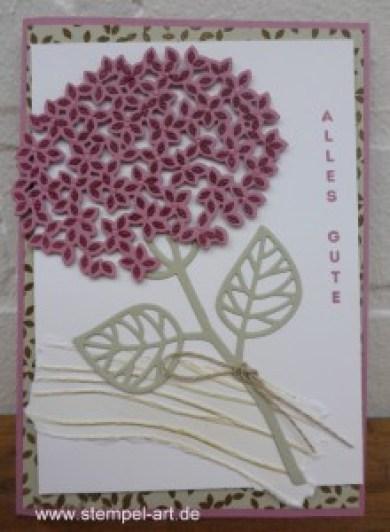 Wald der Worte nach StempelART, Stampin up, Hortensie, Genial vertikal, Stanzteil - Negativ - Technik, Meereswellen, Blatt und Blüte