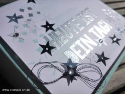 Geburtstagskuchenbausatz nach StempelART, Stampin up, Kein Geburtstag ohne Kuchen, Partyballons, dreifach einstellbare Fähnchenstanze, Stanze Klassisches Etikett, Anleitung