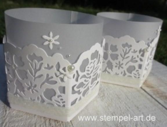 Windlicht Florale Fantasie nach StempelART, Stampin up, Florale Fantasie, Hochzeit, Teelicht, Stanz - und Falzbrett für Geschenktüten