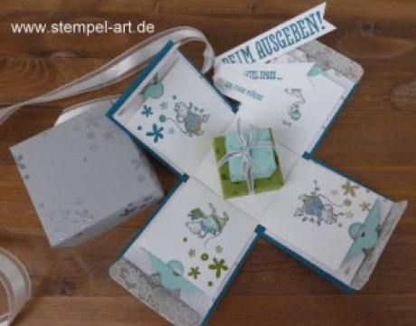 Ein paar Mäuse in der Explosionsbox nach StempelART, Stampin up, Festtagsmäuse, Geschenk deiner Wahl, Perpetual Birthday CalendarGeldgeschenk