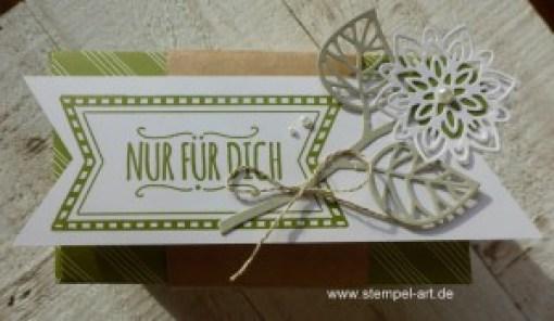 Nur für Dich! - Teeverpackung nach StempelART, Stampin up, Blatt und Blüte, Blütenpoesie, Mini Leckereientüte, Mit Liebe geschenkt