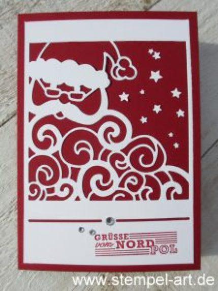 Grüße vom Weihnachtsmann nach StempelART, Stampin up, Thinlits Weihnachtsmann, Weihnachten