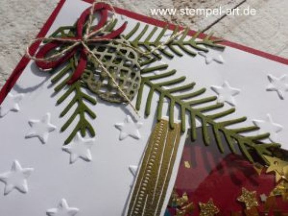 Glasklare Grüße nach StempelART, Stampin up, Weihnachtsstern, Tannen und Zapfen, Zauber der Weihnacht, Wünsche zum Fest, Grüße voller Sonnenschein, Glückssterne, Schüttelkarte
