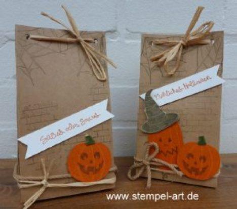 Halloween Tüte nach StempelART, Stampin up, Stanz - und Falzbrett für Geschenktüten, Ghoulish Grunge, Gesammelte Grüße, Jack of All Trades