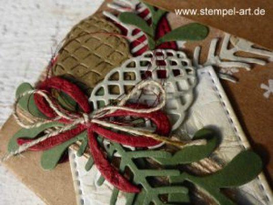 Adventskalender to go nach StempelART, Stampin up, Grüße vom Weihnachtsmann, Tannenzauber, Tannen und Zapfen, Thinlits Weihnachtsstrümpfe, Framelits Stickmuster