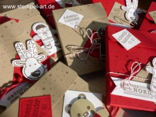 Adventskalender to go nach StempelART, Stampin up, Ausgestochen weihnachtlich, Elementstanze Lebkuchenmännchen, Grüße vom Weihnachtsmann, Tannenzauber, Framelits Stickmuster