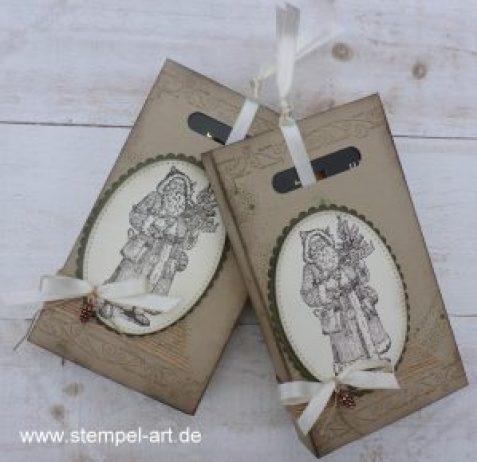 Weihnachtliche Schokoladen Ziehverpackung nach StempelART, Stampin up, Father Christmas, Framelits Stickmuster, Lagenweise Ovale