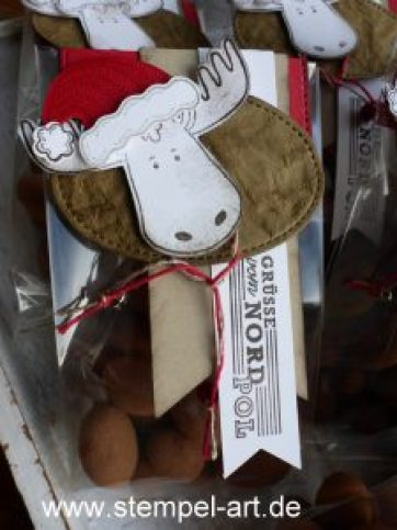Rentierködel nach StempelART, Stampin up,Grüße vom Weihnachtsmann, Jolly Friends, Elementstanze Weihnachtmütze, Framelits Stickmuster, dreifach einstellbare Fähnchenstanze, Labeler Alphabet
