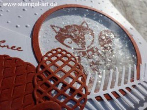 Schneegestöber nach StempelART, Stampin up, Schüttelkarte, Cozy Critters, Fuchs, Eule, Tannen und Zapfen, Kling Glöckchen, Leise rieselt, Aquapainter