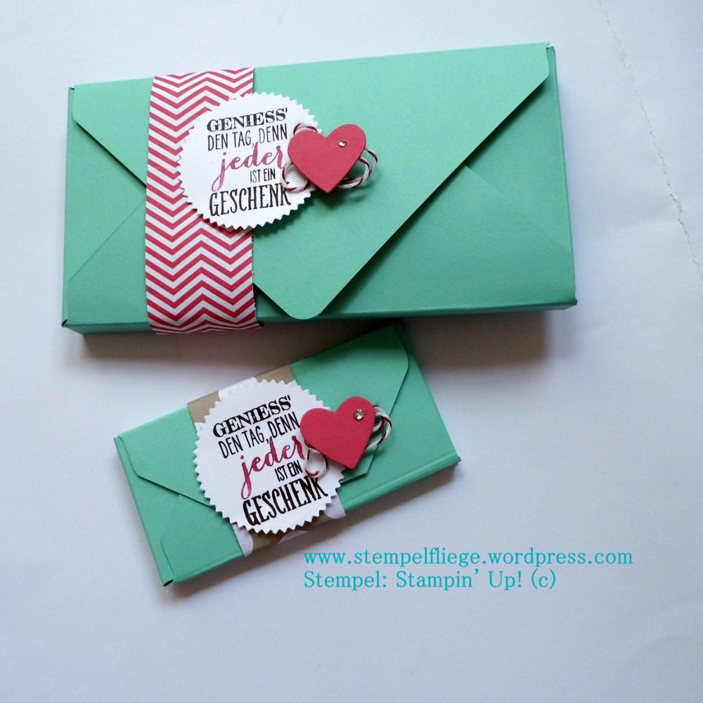 Anleitung für eine Schokoladenverpackung mit dem Envelope Punch Board (1/2)