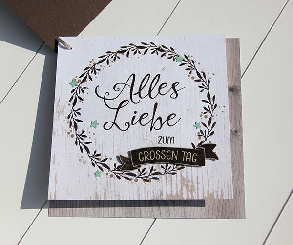 Individuelle Karte zum Hochzeitstag mit Stempeln