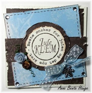 Små og blå julekort med restepapir