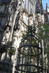 Fassade des Aachener Doms mit altem Rosenstock