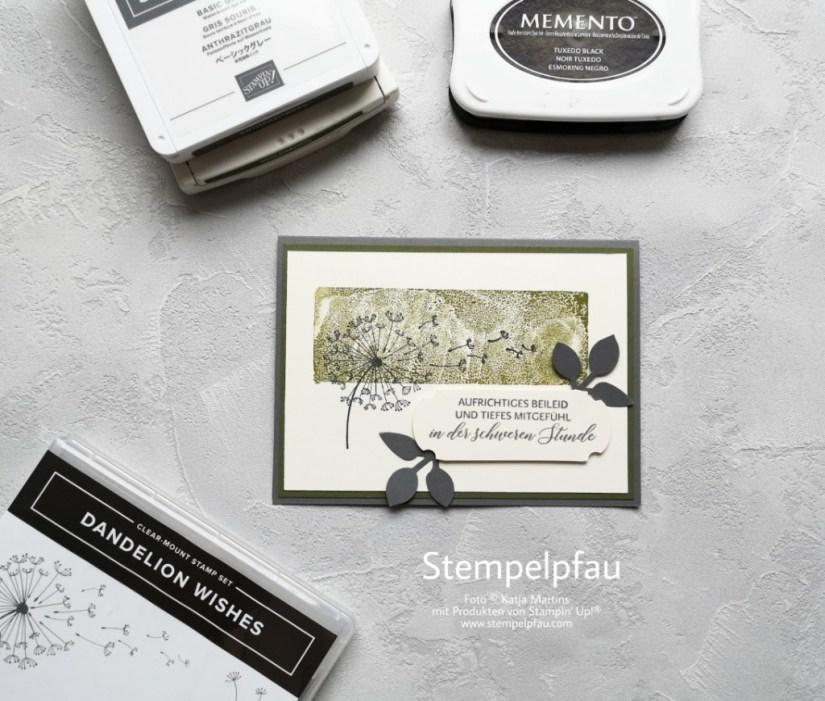 Trauerkarte mit Stampin' Up! Produkten. Kreativ mit dem Stempelpfau.