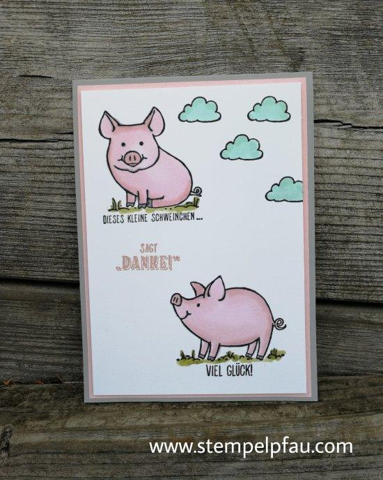 Glücksschweinchen Karte mit Stampin' Up! Produkten