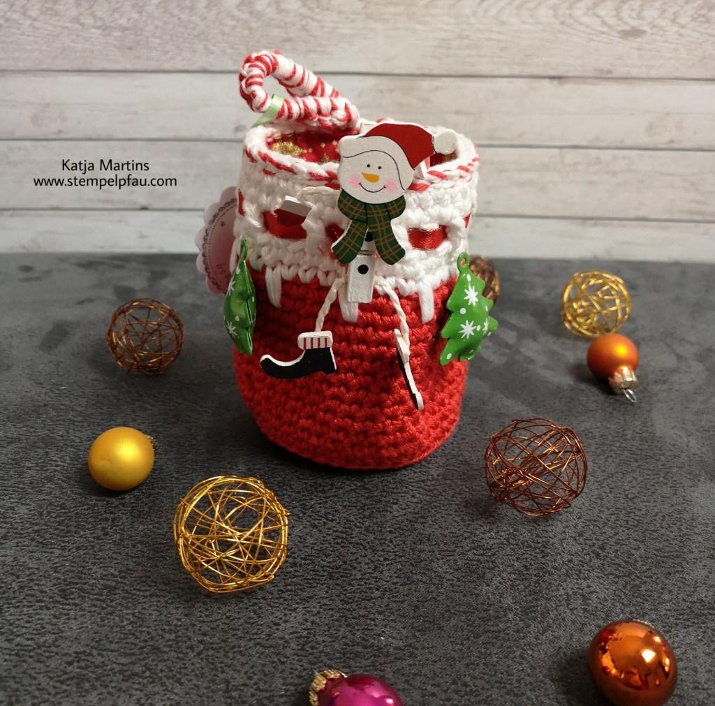 Weihnachten gehäkeltes Utensilo nach Anleitung von wattundschön