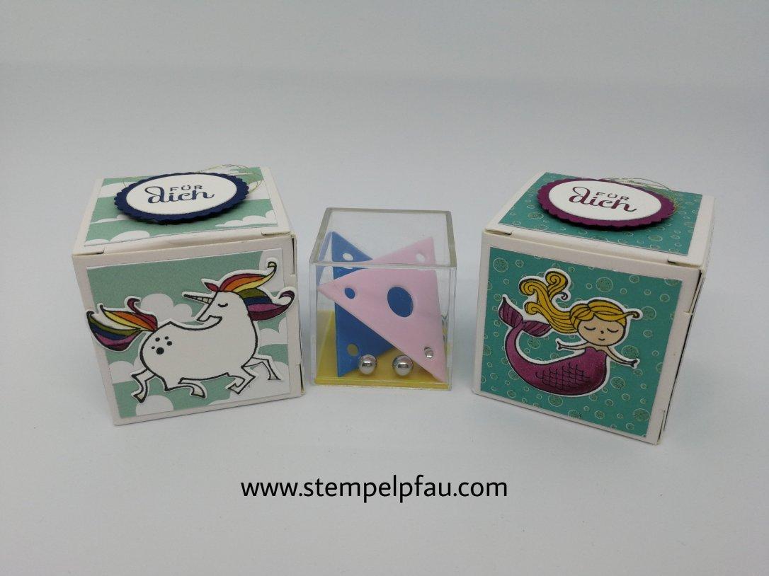 Kleine Boxen mit Spielzeug. Gestaltet mit Produkten von Stampin' Up!