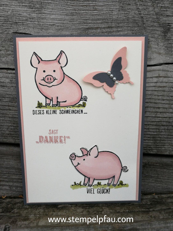 Dankeschön Karte mit Schweinen von Stampin' Up!