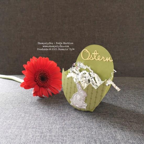 Osterkörbchen mit Produkten von Stampin' Up! hergestellt. Eine Idee zu Ostern, Stempelpfau