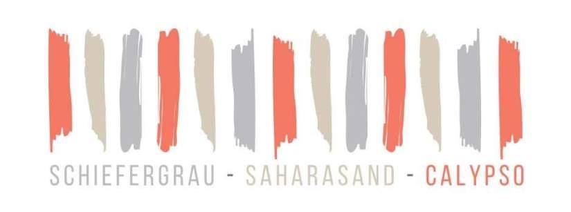 We fall in Colors Schiefergrau, Saharasand und Calypso