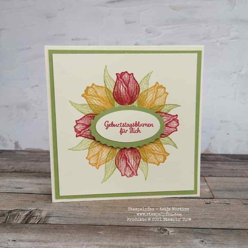 Kreis stempeln mit dem Stamparatus, Tulpen