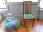 Chair and accomanying beanbag (reused denim, veveteen, pre-loved chair) 2012