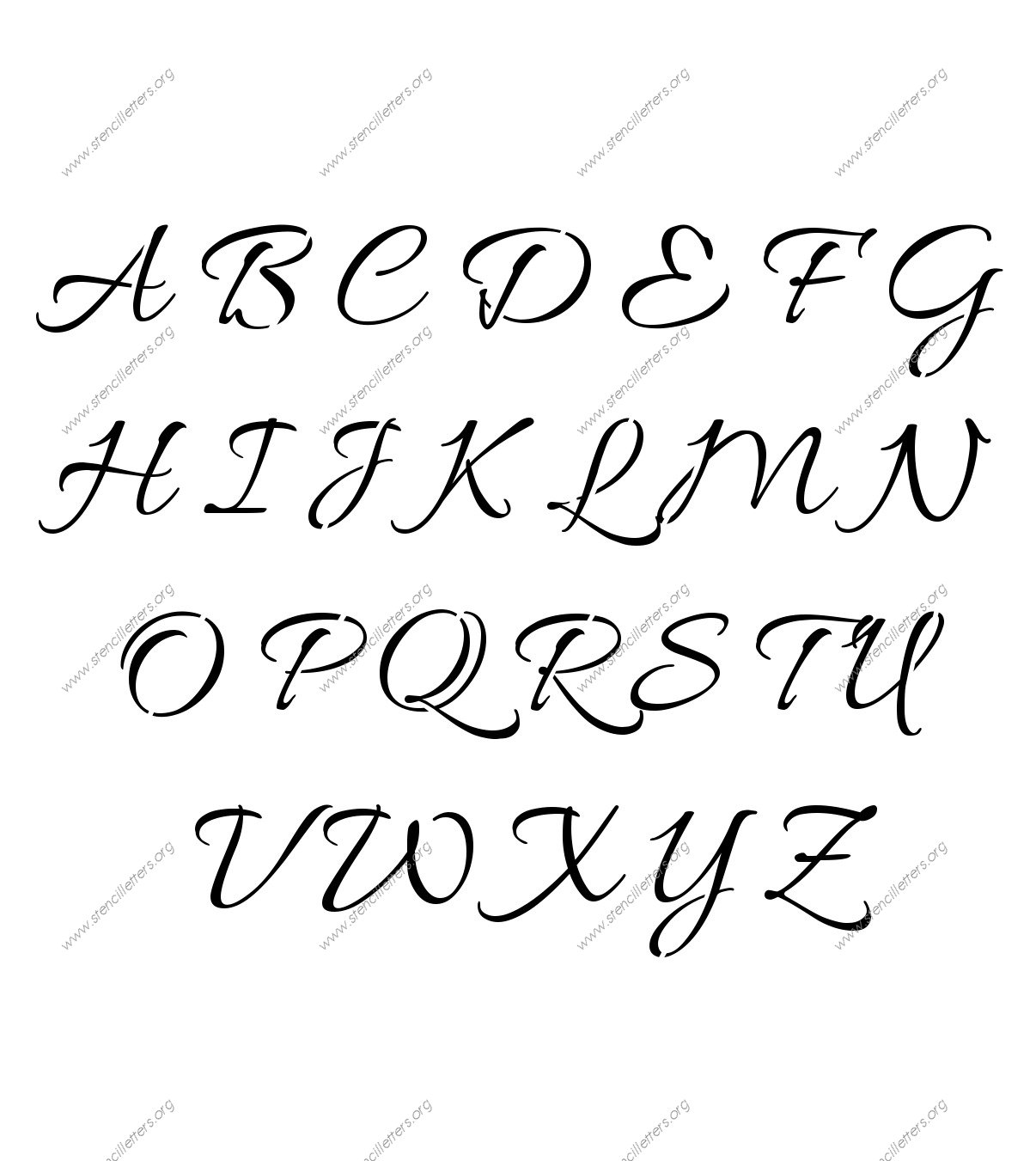 Connected Cursive Uppercase Amp Lowercase Letter Stencils A