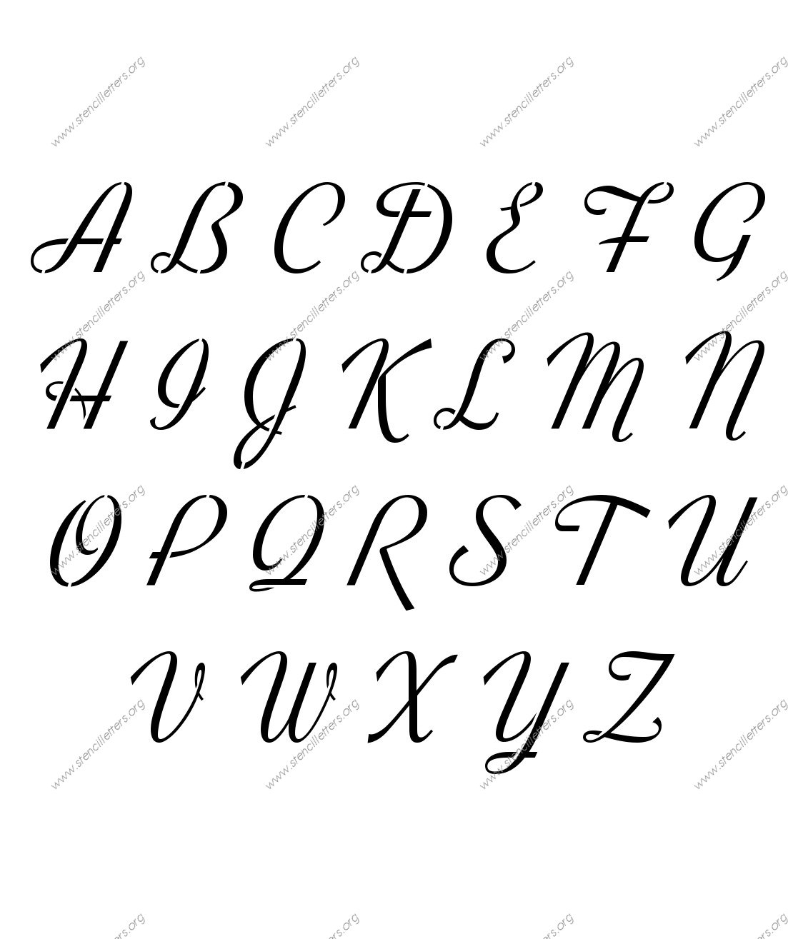 Retro Vintage Cursive Uppercase Amp Lowercase Letter Stencils A Z 1 4 To 12 Inch Sizes