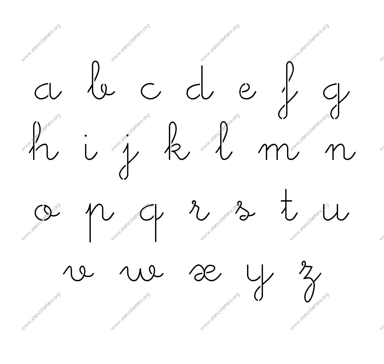 Cute Girly Cursive A To Z Lowercase Letter Stencils
