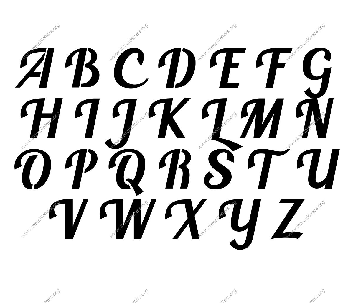 Script Calligraphy Uppercase Amp Lowercase Letter Stencils A