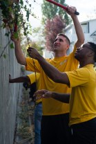 160924-N-XX566-007 BREMERTON, Washington (Sept. 24, 2016) Sailors assigned to USS John C. Stennis (CVN 74) trim overgrown plants from a wall during a community service event. John C. Stennis is conducting a routine maintenance availability following a deployment to U.S. 7th and 3rd fleet areas of operation. (U.S. Navy photo by Mass Communication Specialist 3rd Class Andre T. Richard/ Released)