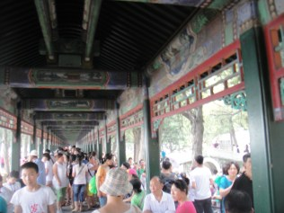 The longest corridor I've seen. It was filled with people which made it super crowded to walk through unfortunately