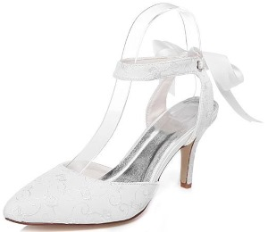 Bridal Shoe With Ribbon and Lace