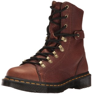 Dr. Martens Women's Coraline in Dark Brown Grizzly Leather Combat Boot