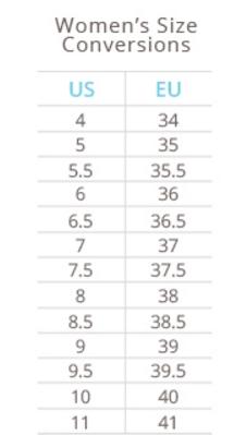 LifeStride Shoe Size Chart