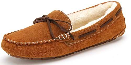 SUNROLAN Women's Winter Flats Suede House Slippers Fur-Lined Moccasin Driving Shoes Slip On Loafers