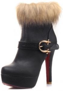 black winter heeled bootie with fur
