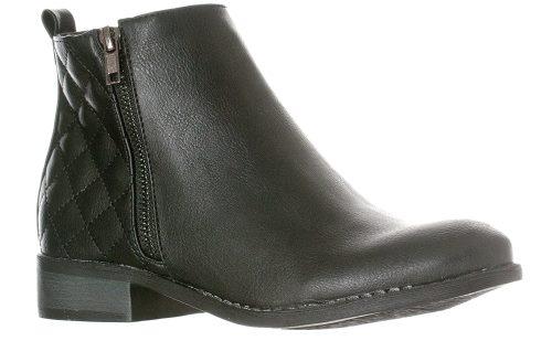 Riverberry Women's Jada Quilted Low Heel Zip-Up Ankle Bootie Boot