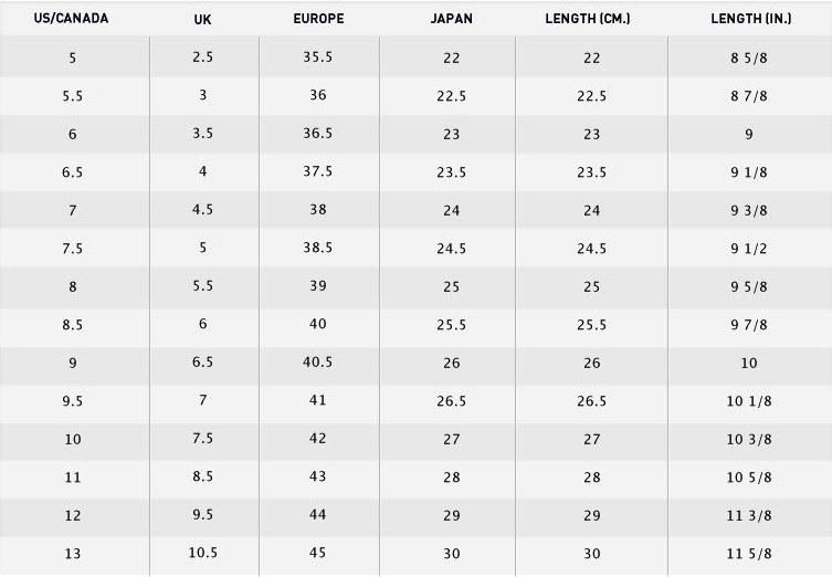 Zumba Women's Shoe Size Chart