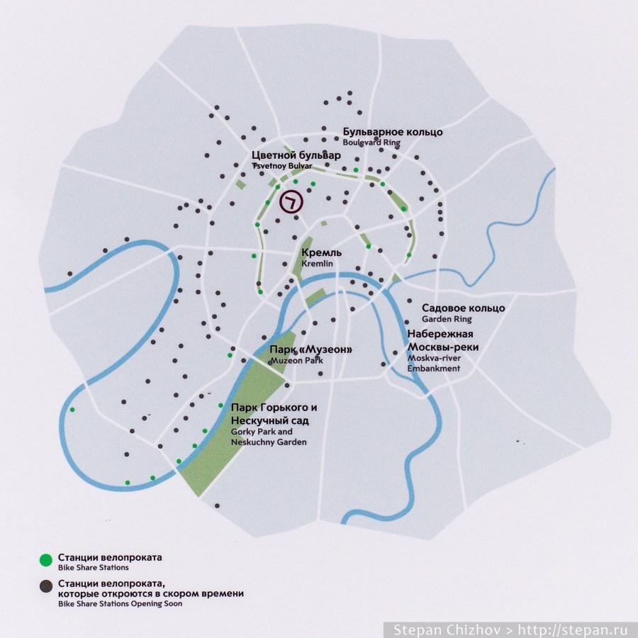 Схема всех пунктов проката Велобайк, включая те, которые должны появиться в ближайшем будущем